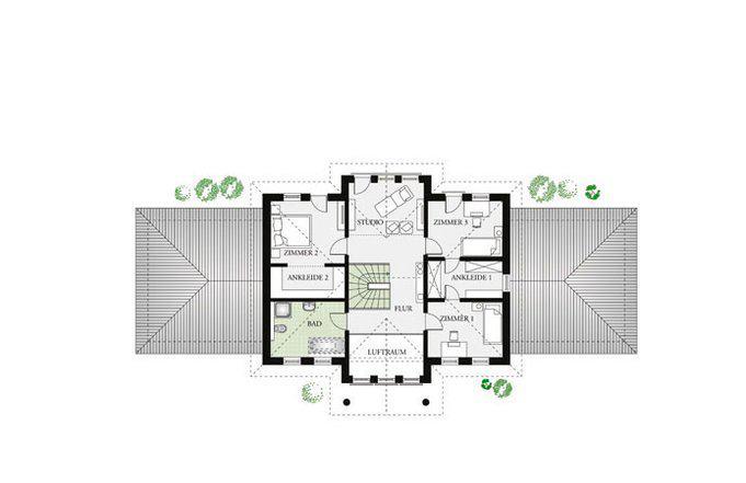 Grundriss Dachgeschoss Villa Classic 244 von Dan-Wood