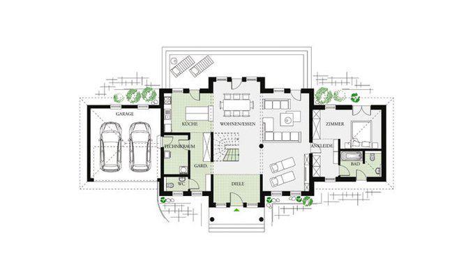 Grundriss Erdgeschoss Villa Classic 244 von Dan-Wood