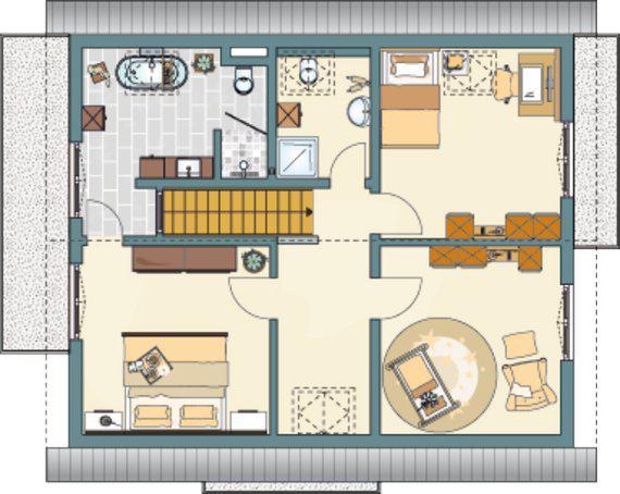 Grundriss Obergeschoss Musterhaus NEO 312 in Bad Vilbel von Fingerhaus