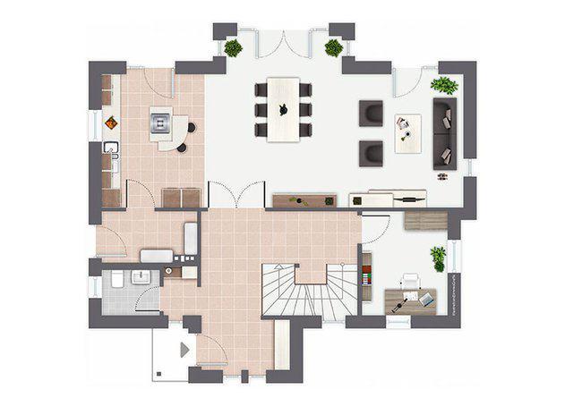 Grundriss Erdgeschoss Entwurf Pentrup von Gussek Haus