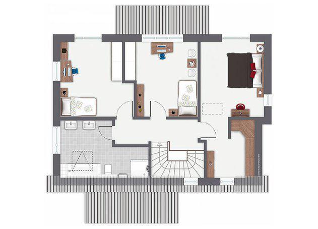 Grundriss Obergeschoss Entwurf Pentrup von Gussek Haus