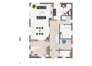Grundriss Erdgeschoss Entwurf Waldsee von Gussek Haus