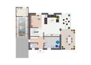 Grundriss Erdgeschoss Haus Sonnenhügel von Gussek Haus