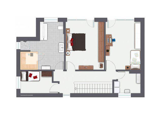 Grundriss Obergeschoss Entwurf San Marco von Gussek Haus