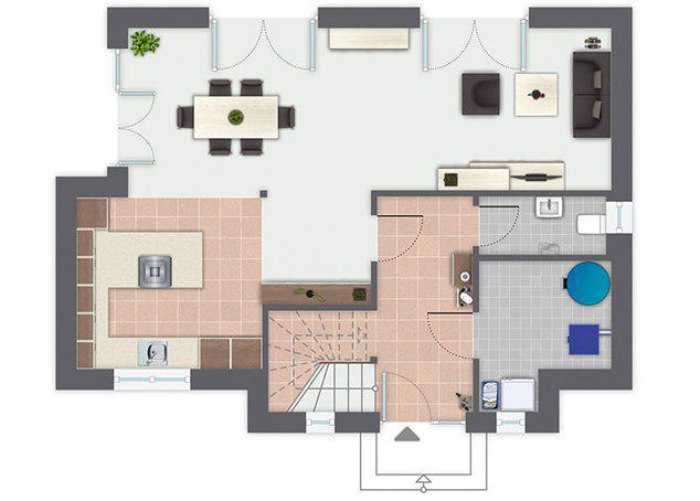 Grundriss Erdgeschoss Entwurf Auerberg von Gussek Haus