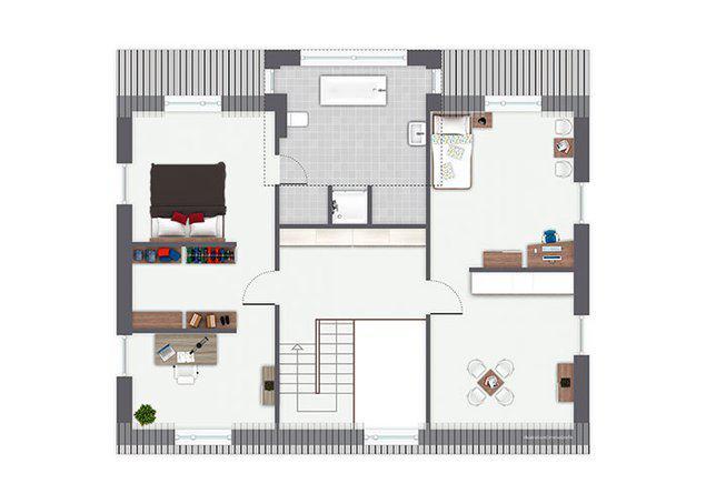 Grundriss Obergeschoss Entwurf Osterholz von Gussek Haus