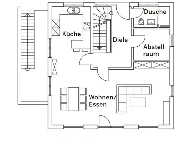 Grundriss Erdgeschoss Stadtvilla Engelhardt von Baumeister-Haus
