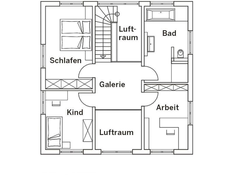 Grundriss Obergeschoss Stadtvilla Engelhardt von Baumeister-Haus