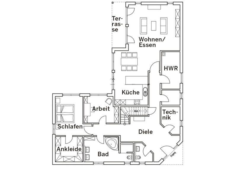Grundriss Erdgeschoss Haus Pohl von Baumeister Haus