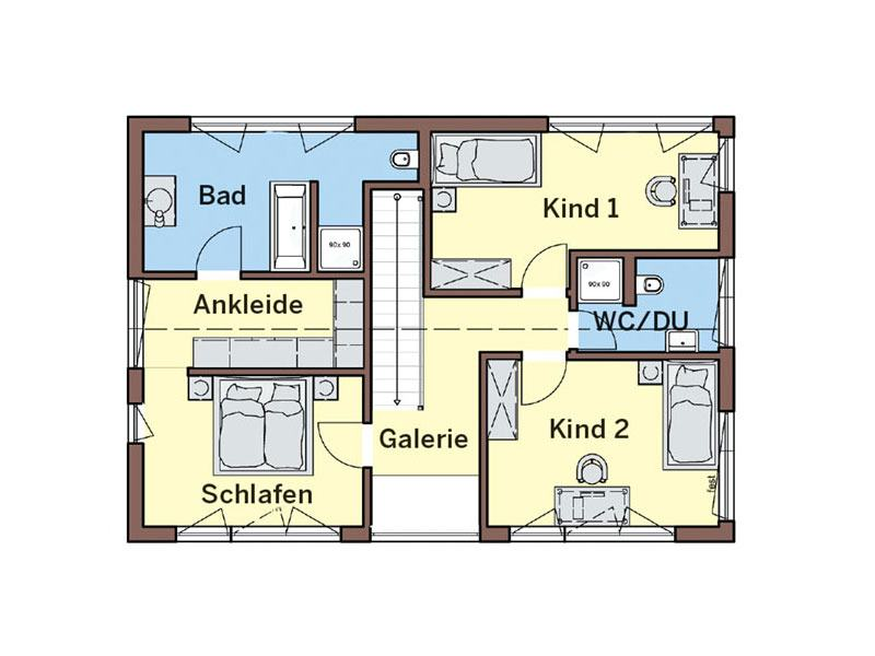 Grundriss Dachgeschoss Haus Vitalis von Buedenbender