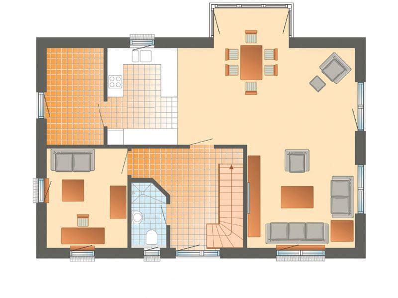 Grundriss Erdgeschoss Haus Glücksburg von Danhaus