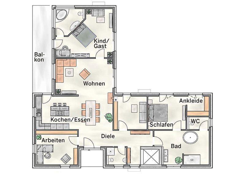 Grundriss Erdgeschoss Entwurf basierend auf Cumulus 540 von Heinz von Heiden