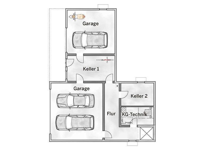 Grundriss Kellergeschoss Entwurf basierend auf Cumulus 540 von Heinz von Heiden