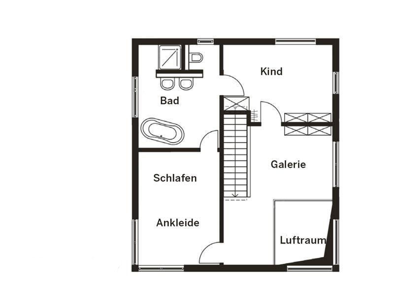 Grundriss Obergeschoss Haus Homestory 314 von Lehner-Haus