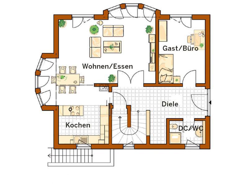 Erdgeschoss Entwurf Linz (Grundriss: Rensch Haus)