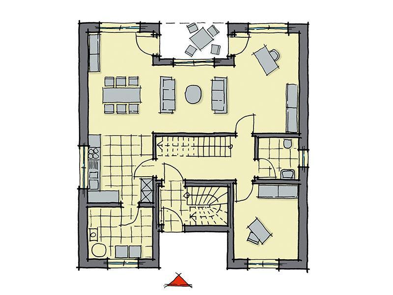Grundriss Erdgeschoss Haus Barcelona von GUSSEK HAUS