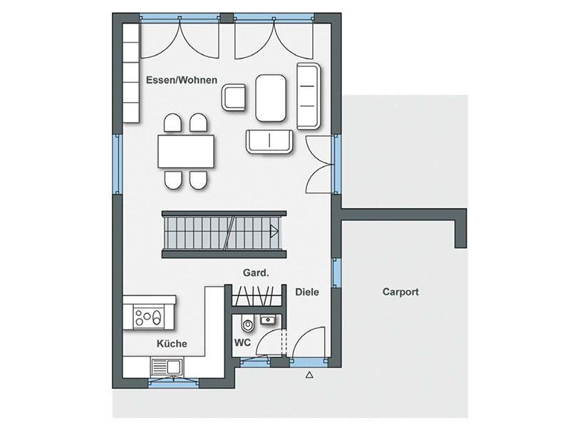 Grundriss Erdgeschoss Haus Gregorini von WeberHaus