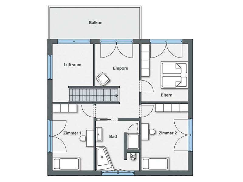 Grundriss Obergeschoss Haus Gregorini von WeberHaus
