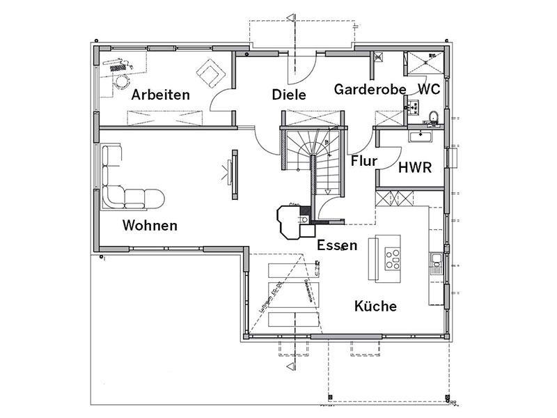 Grundriss Erdgeschoss Haus Bittner von Fertighaus Weiss