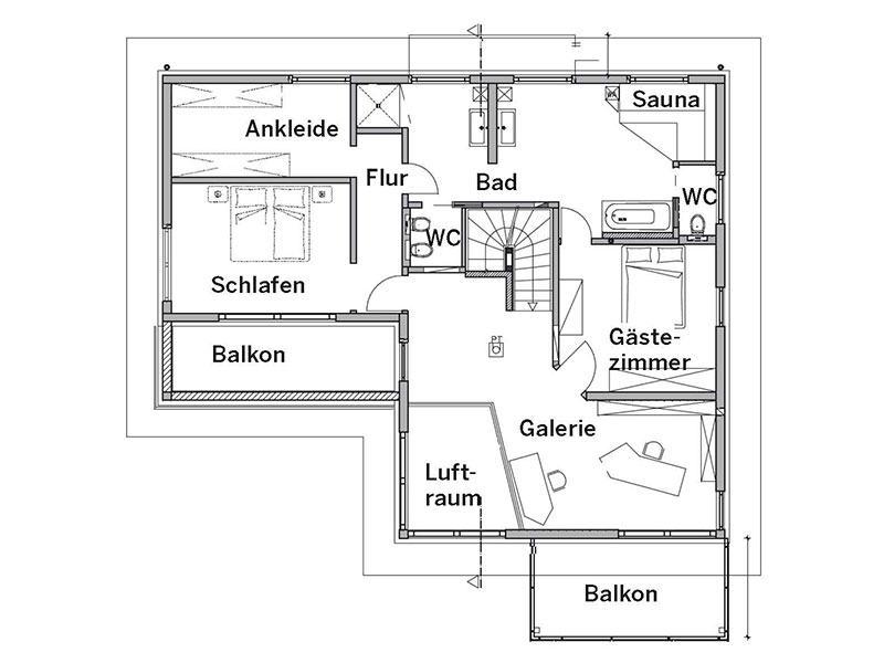 Grundriss Obergeschoss Haus Bittner von Fertighaus Weiss