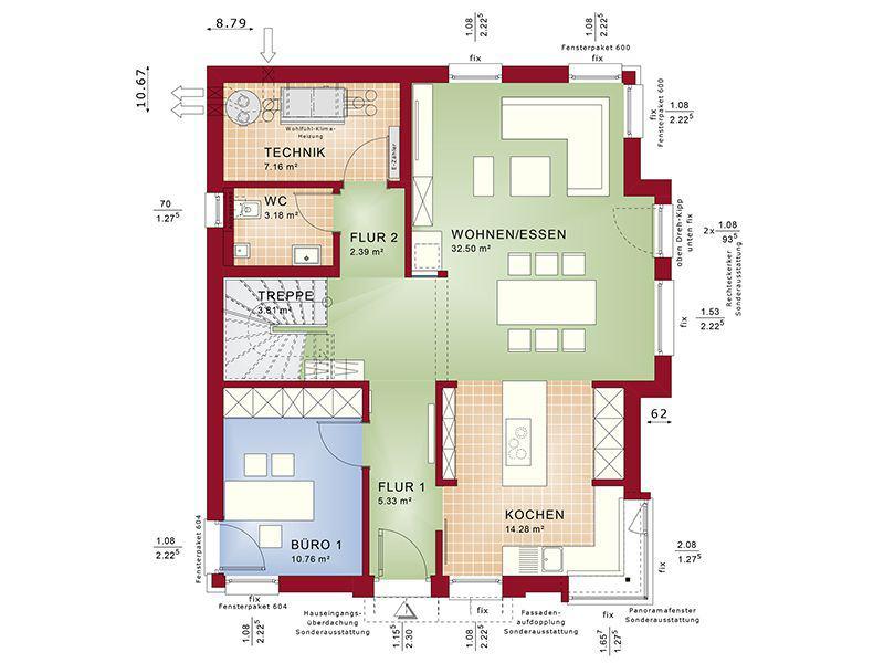 Grundriss Erdgeschoss Concept-M 152 Pfullingen (Bien-Zenker)