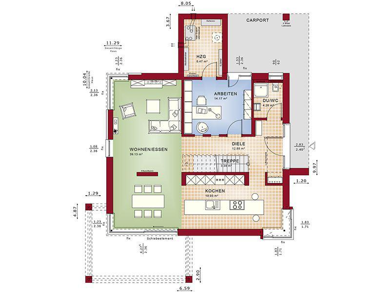Grundriss Erdgeschoss Concept-M 172 Köln (Bien Zenker)