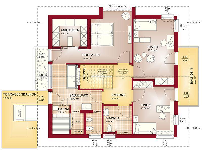 Grundriss Dachgeschoss Concept-M 163 München (Bien Zenker)