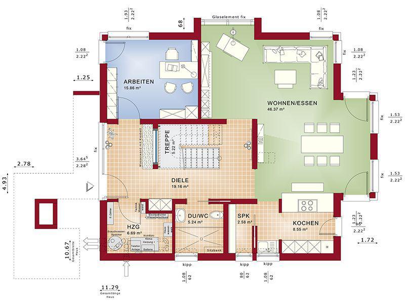 Grundriss Erdgeschoss Concept-M 163 München (Bien Zenker)