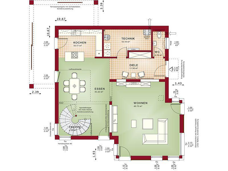 Grundriss Erdgeschoss Concept-M 193 Potsdam (Bien-Zenker)