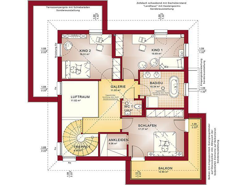 Grundriss Obergeschoss Concept-M 193 Potsdam (Bien-Zenker)