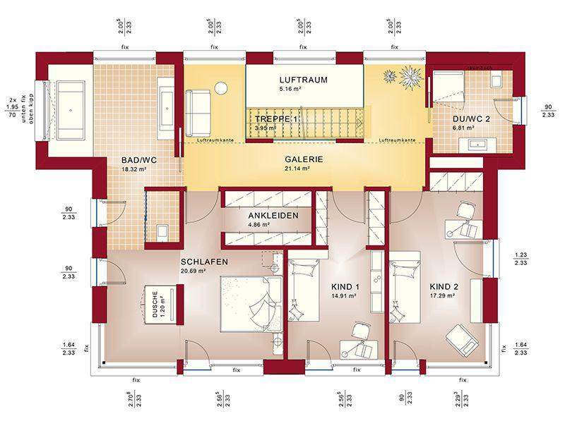 Grundriss Obergeschoss Concept-M 188 Wuppertal (Bien-Zenker)