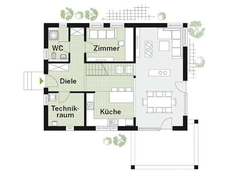 Grundriss Erdgeschoss Point 157A (DAN-WOOD House)
