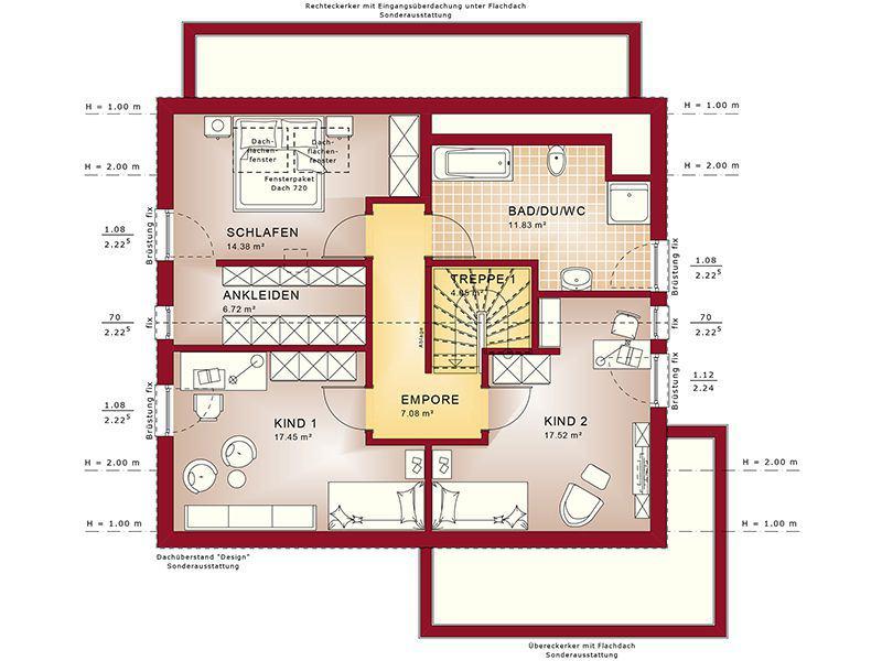 Grundriss Dachgeschoss Fantastic 163 V2 (Bien-Zenker)