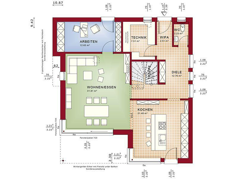 Grundriss Erdgeschoss Fantastic 163 V7 (Bien-Zenker)