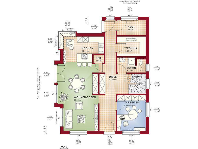 Grundriss Erdgeschoss Fantastic 165 V5 (Bien-Zenker)