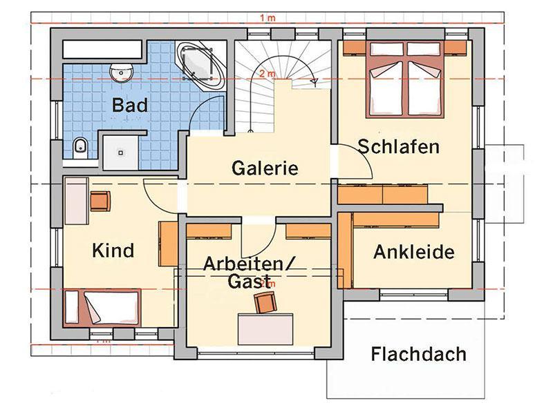 Grundriss Dachgeschoss Entwurf Solaris von Fingerhut Haus