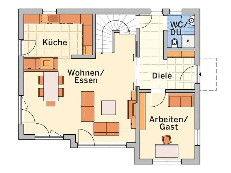 Grundriss Erdgeschoss Entwurf Solaris von Fingerhut Haus