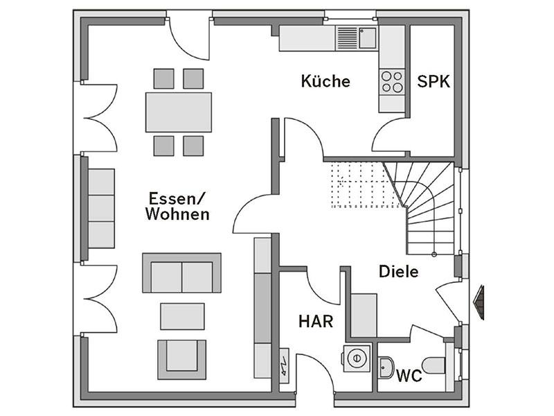 Grundriss Erdgeschoss Arcus 130 von Heinz von Heiden