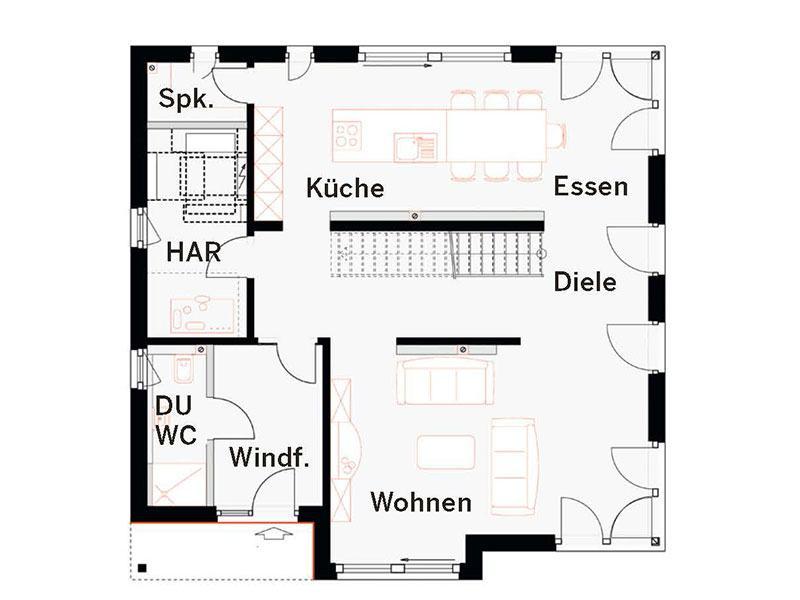 Grundriss Erdgeschoss Fellbach (OKAL)