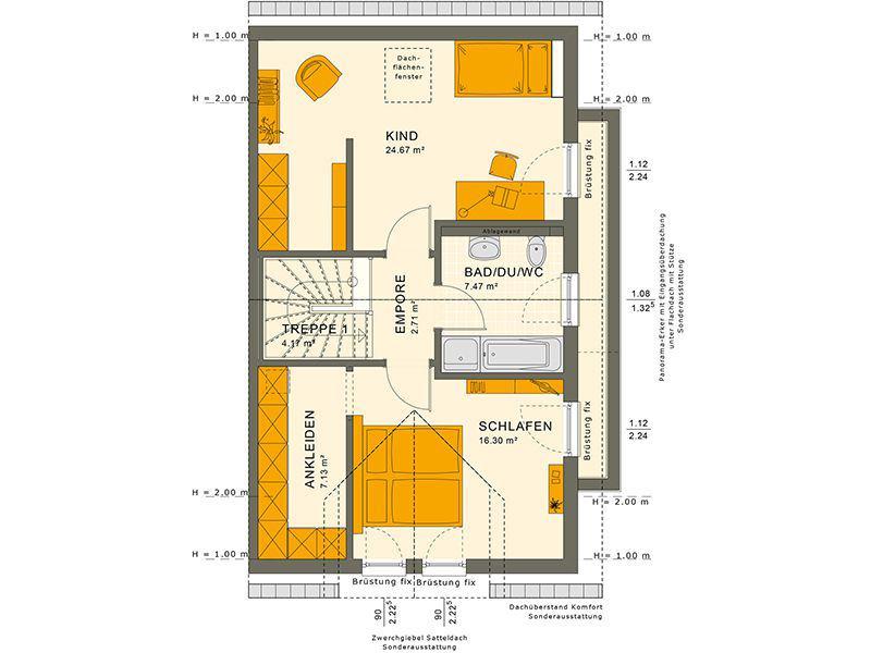 Grundriss Dachgeschoss 126 V3 (Living Haus)