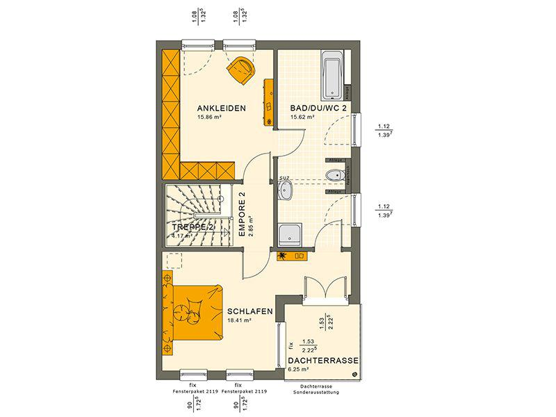 Grundriss Dachgeschoss 126 XL V6 (Living Haus)