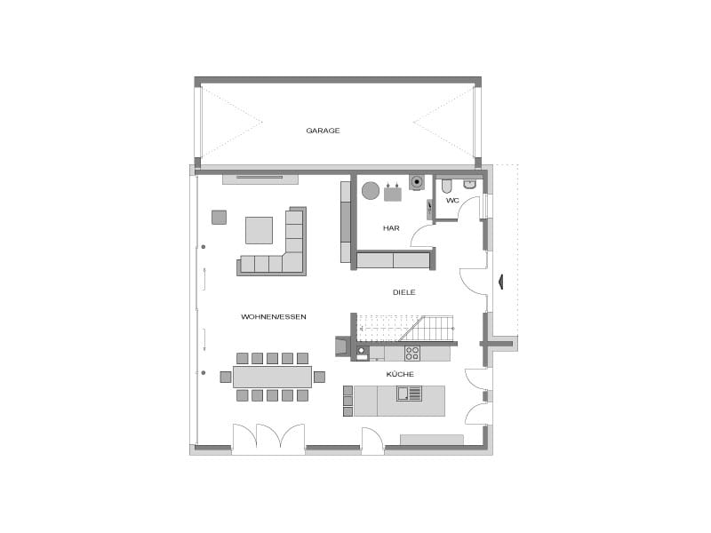 Grundriss Erdgeschoss Stadtvilla basierend auf Arcus 130 von Heinz von Heiden