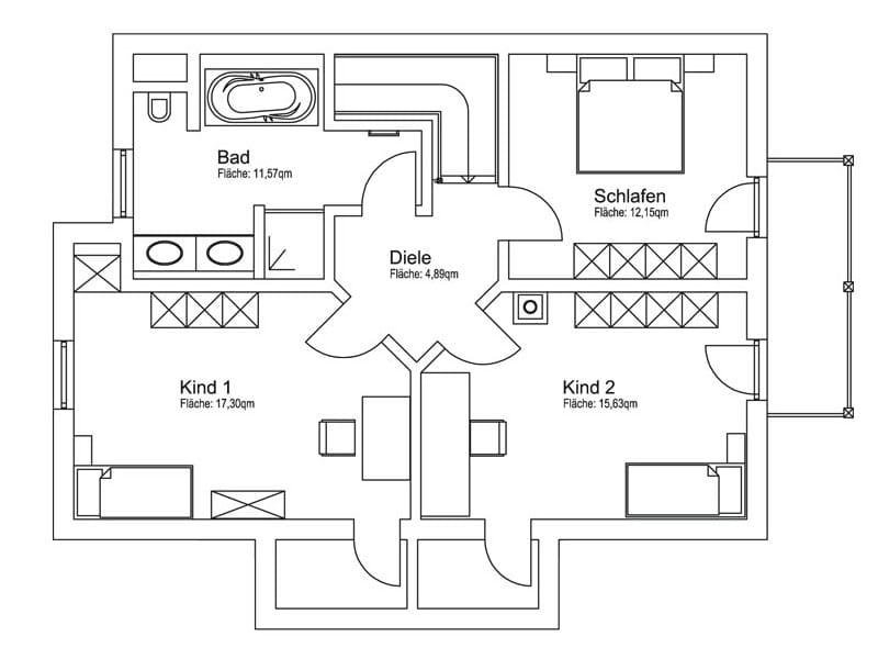 Bauvorhaben Daub: Grundriss Obergeschoss