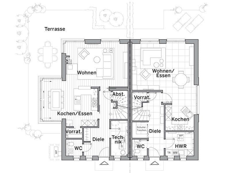 Grundriss Erdgeschoss Maxime 1000D (Viebrockhaus)