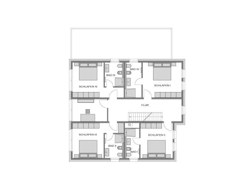 Grundriss Obergeschoss Stadtvilla basierend auf Arcus 130 von Heinz von Heiden