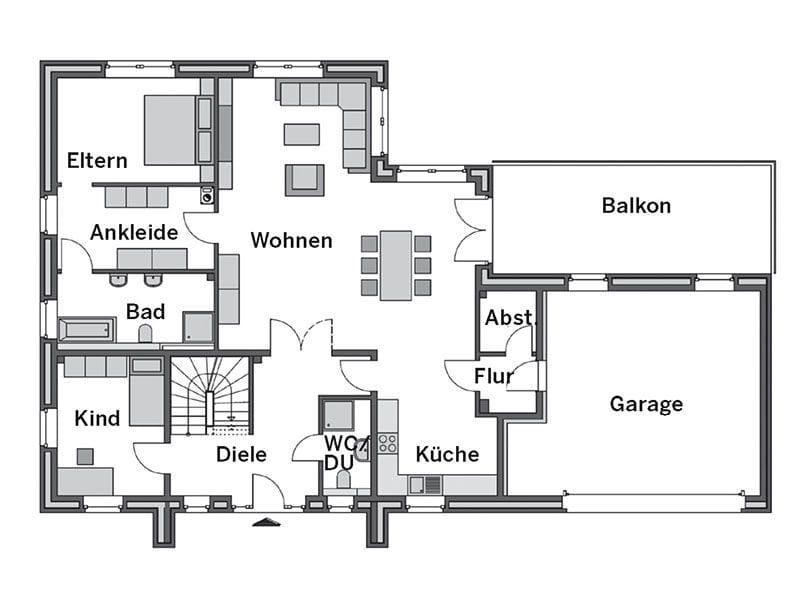 Grundriss Erdgeschoss Winkelbungalow Cumulus 670 von Heinz von Heiden