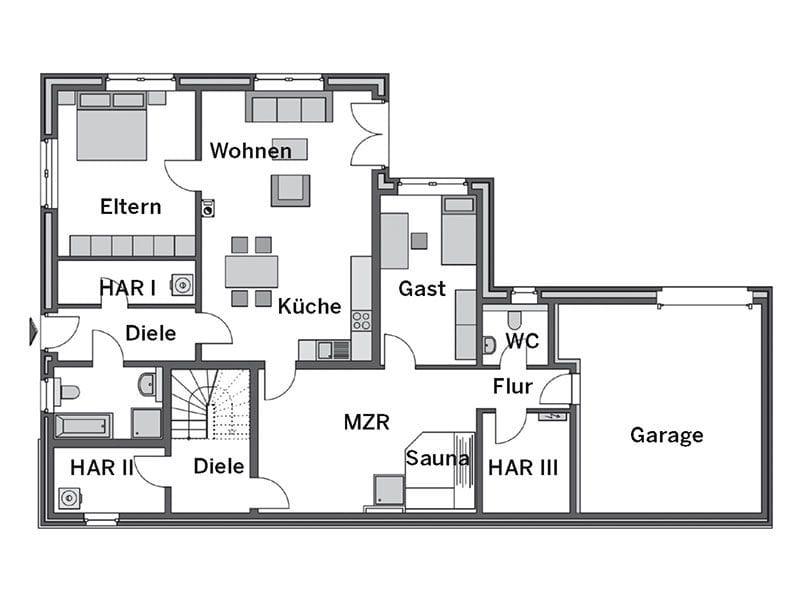 Grundriss Untergeschoss Winkelbungalow Cumulus 670 von Heinz von Heiden