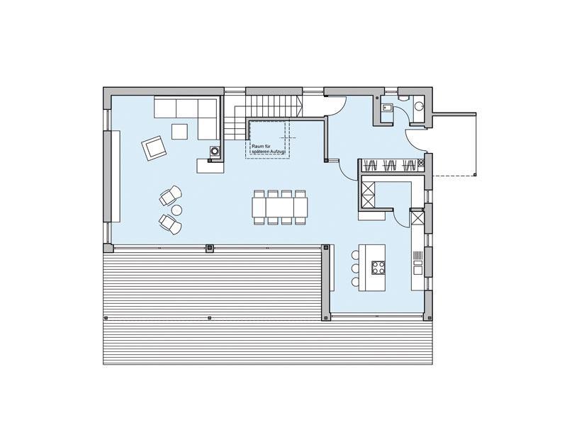 Grundriss Erdgeschoss Haus Riederle von Baufritz