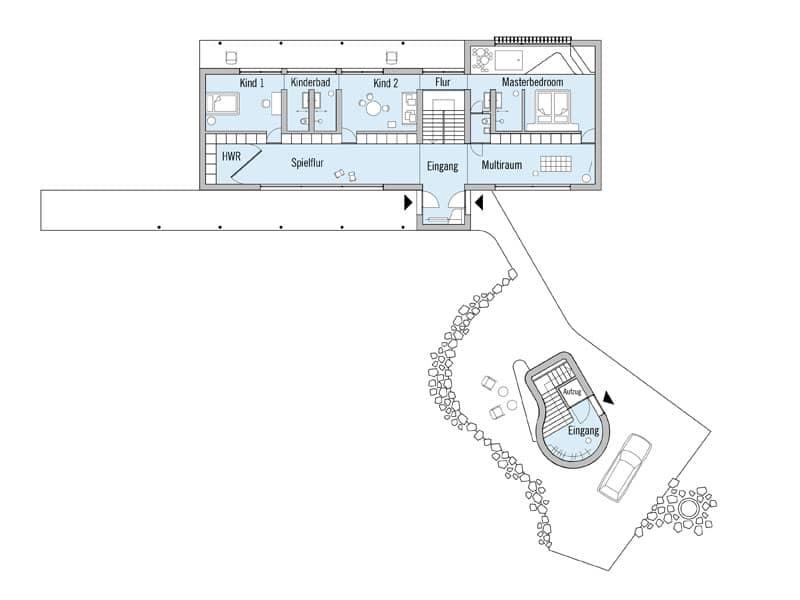 Grundriss Erdgeschoss Entwurf Haussicht von Baufritz