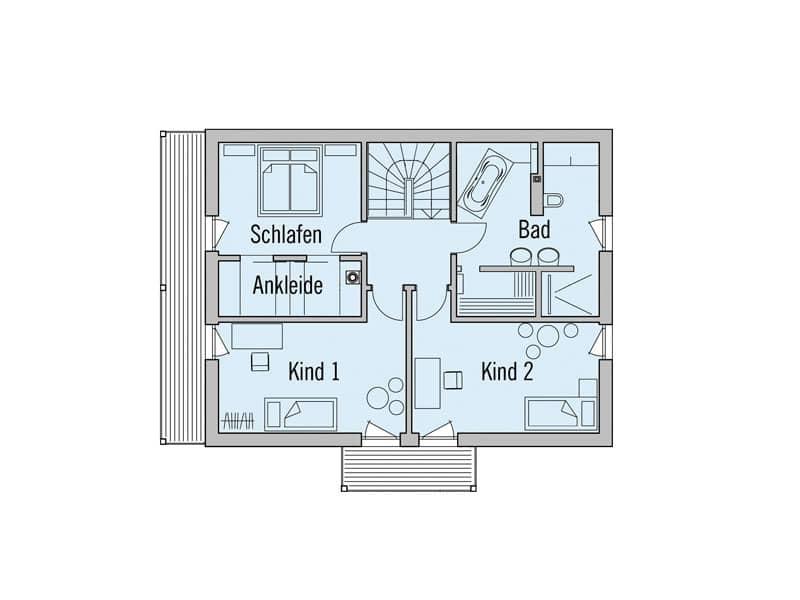 Grundriss Obergeschoss Landhaus Motz-Russ von Baufritz